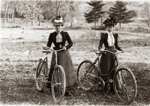 Two women stop during a bicycle ride around the Schenectady area, ca. 1900